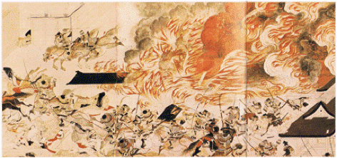 'The Burning of the Sanjo Palace', detail from the Heiji monogatori scrolls. Ink and colors on paper, 13th century. The Museum of Fine Arts, Boston