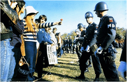 Female Demonstrator Offering a Flower to a Military Police Officer, 1967