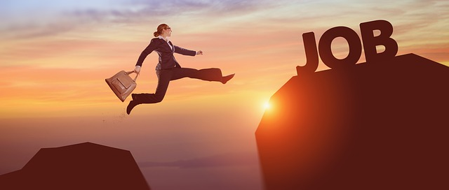 Image of woman leaping toward a job.