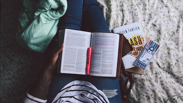 Photo of student studying.