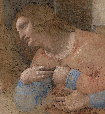 Philip (detail), Leonardo da Vinci, Last Supper, 1498, tempera and oil on plaster (Santa Maria della Grazie, Milan)