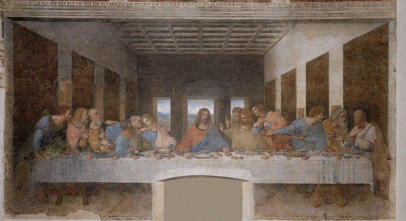Leonardo da Vinci, Last Supper, 1498, tempera and oil on plaster (Santa Maria della Grazie, Milan) (photo: public domain)