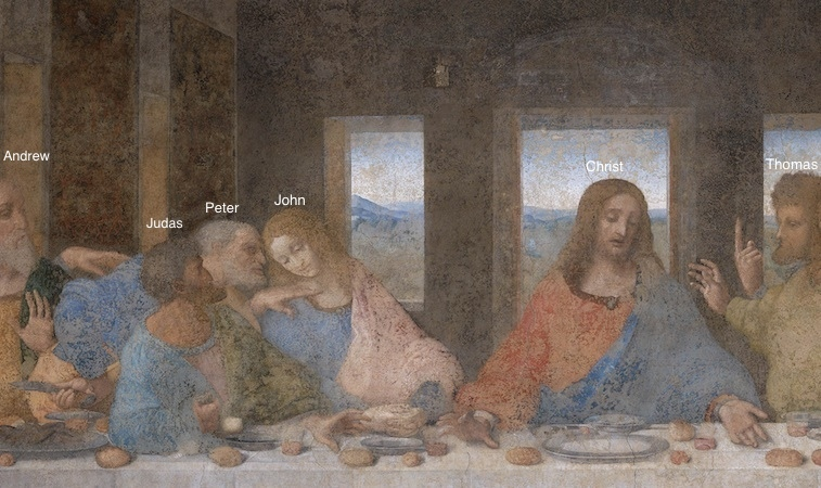 Leonardo da Vinci, Last Supper, 1498, tempera and oil on plaster (Santa Maria della Grazie, Milan)
