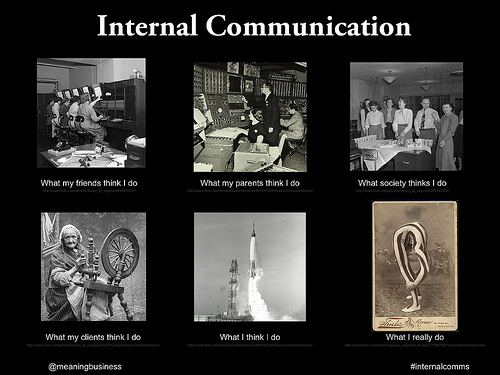 a meme displaying internal communication and what various groups of people will percieve you to do.