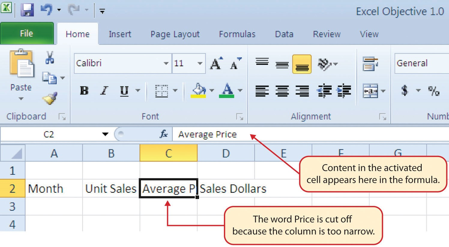 """Cell C2 activated with """"Average Price"""" in formula displayed as """"Average P"""" in cell due to narrow column."""