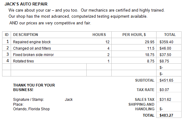 Image shows an invoice from Jack's Auto Repair. The invoice gives price per service and product and a sum total.