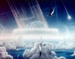 Artist rendering of Chicxulub asteroid impact