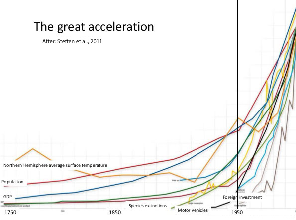 Graph showing the great acceleration