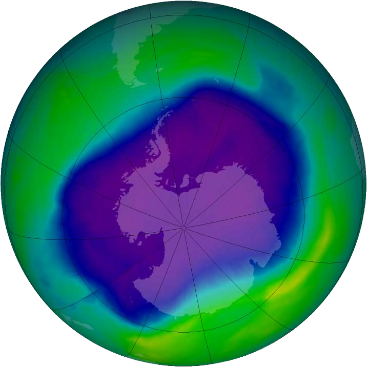 Image showing the Antarctic ozone hole was equal to the record single-day largest area of 11.4 million square miles (29.5 million square kilometres), reached on Sept. 9, 2000