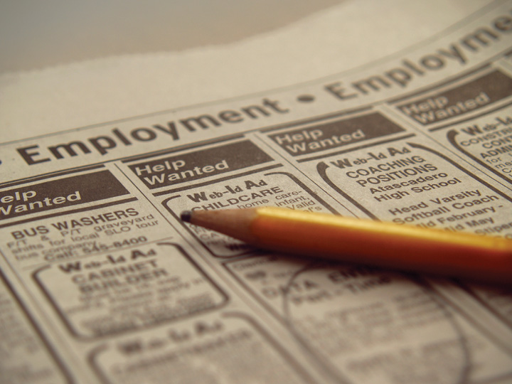 Photo of the employment section in a newspaper