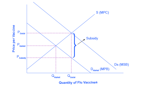 The graph shows the market for flu shots: flu shots will go under produced because the market does not recognize their positi