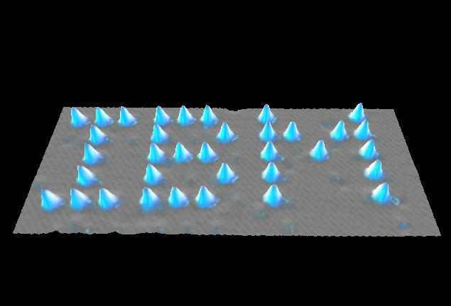 Image of Xenon atoms on a nickel surface which spell out the corporate logo for IBM