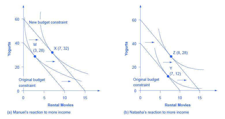 """Both images in the graph show """"rental movies"""" on the x-axis and """"yogurts"""" on the y-axis."""