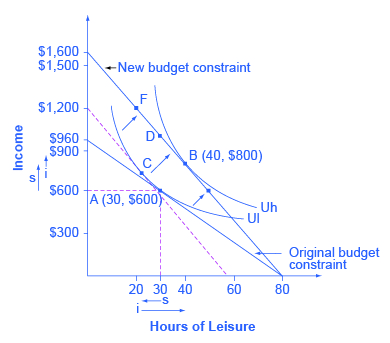 The graph shows the effects of a change in Petunia's wage.