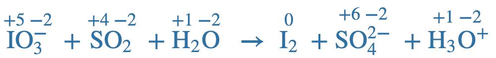 Equation IO3- + SO2 + H2O creates I2+SO42- +H3O
