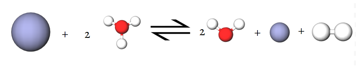 Image of the equation for the reduction hydronium