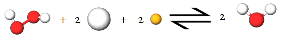 Equation showing hydrogen peroxide as an oxidizing agent