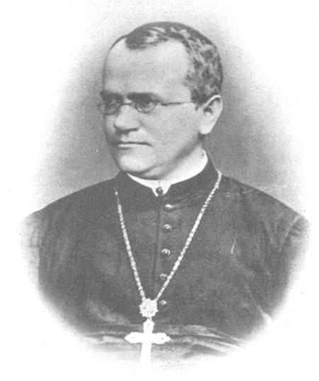 Image is a sketch of Johann Gregor Mendel