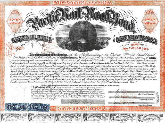 San Francisco Pacific Railroad Bond