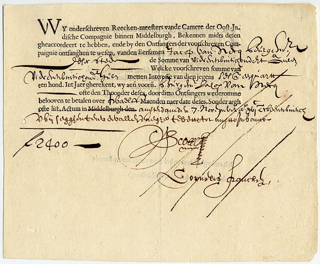 A bond from the Dutch East India Company