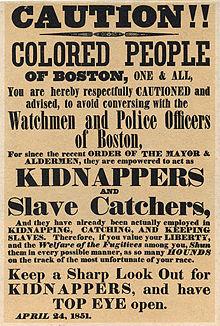 Poster warning Bostonians about slave catchers