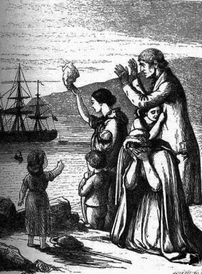 The engraving depicts a family of seven waving forlornly at a ship sailing in the distance