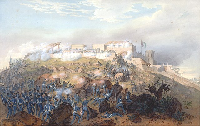 A painting depicting the Battle of Chapultapec