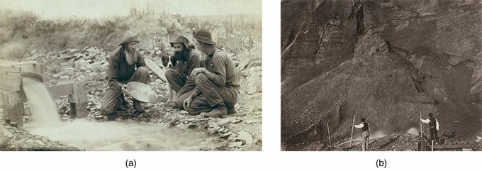 Image (a) is a photograph of three prospectors kneeling beside a stream and panning for gold. Image (b) is a photograph of two laborers engaged in hydraulic mining, with a massive expanse of rock spread out before them