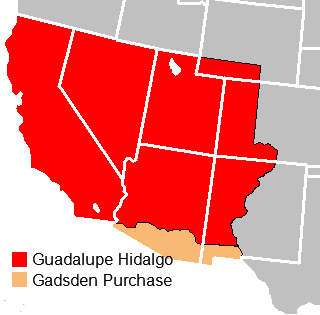 The Mexican Cession acquired through the Treaty of Guadalupe Hidalgo included the entirety of California, Nevada, and Utah; the majority of Arizona; and portions of Wyoming, Colorado, and New Mexico. The Gadsden Purchase included southern Arizona and the southwest corner of New Mexico