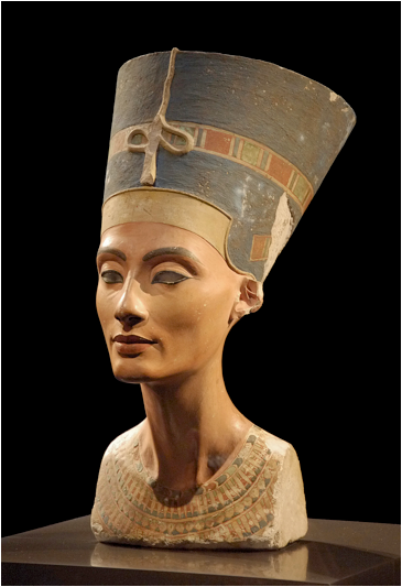 Egyptian, Bust of Nefertiti, painted sandstone, c. 1370 BCE