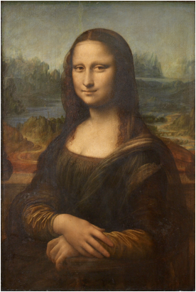 "Leonardo Da Vinci, Mona Lisa, c. 1503-19. Oil on poplar. 30."" The Louvre, Paris."