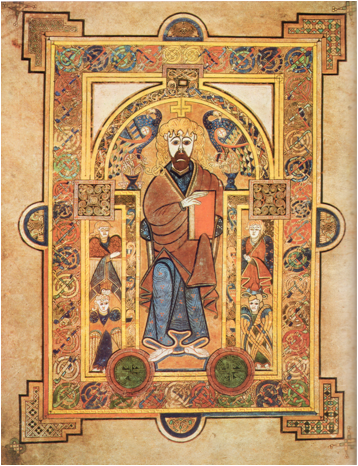 Page from the Book of Kells, around 800 CE. Trinity College, Dublin.