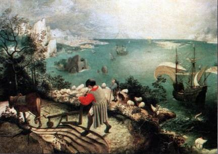 Landscape with the Fall of Icarus, Peter Breughel the Elder, 1558. Musee des Beaux-arts, Brussels.