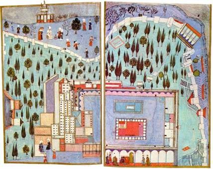 Third Court of the Topkapi Palace, from the Hunername, 1548. Ottoman miniature painting. Topkapi Museum, Instanbul.