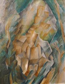 George Braque 'Castle at La Roche Guyon' 1909 Oil on canvas. Stedelijk van Abbe Museum, Eindhoven, Netherlands.