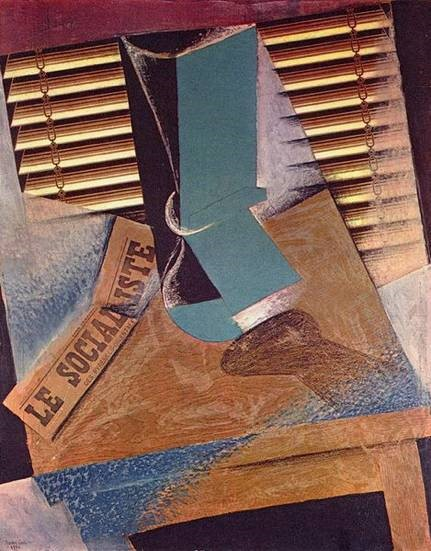 Juan Gris, The Sunblind, 1914, Gouache, collage, chalk and charcoal on canvas. Tate Gallery, London.