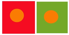 A color subtraction example where the same orange hue appears more yellow against a red background