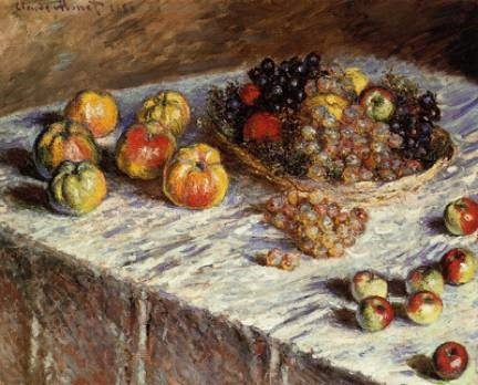 Claude Monet, Still Life with Apples and Grapes, 1880, oil on canvas. The Art Institute of Chicago.