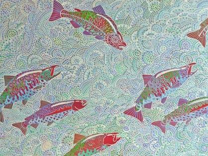 Alfredo Arreguin, Malila Diptych, 2003. Washington State Arts Commission