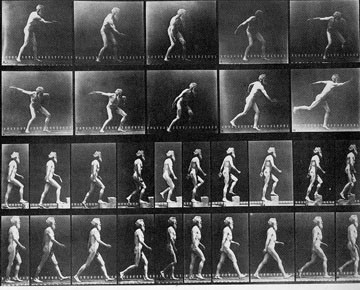 Eadweard Muybridge, sequences of himself throwing a disc, using a step and walking