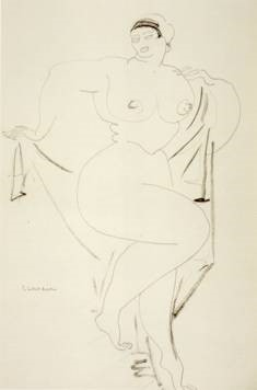 Gaston Lachiase, 'Standing Nude with Drapery', 1891. Graphite and ink on paper. Honolulu Academy of Arts.