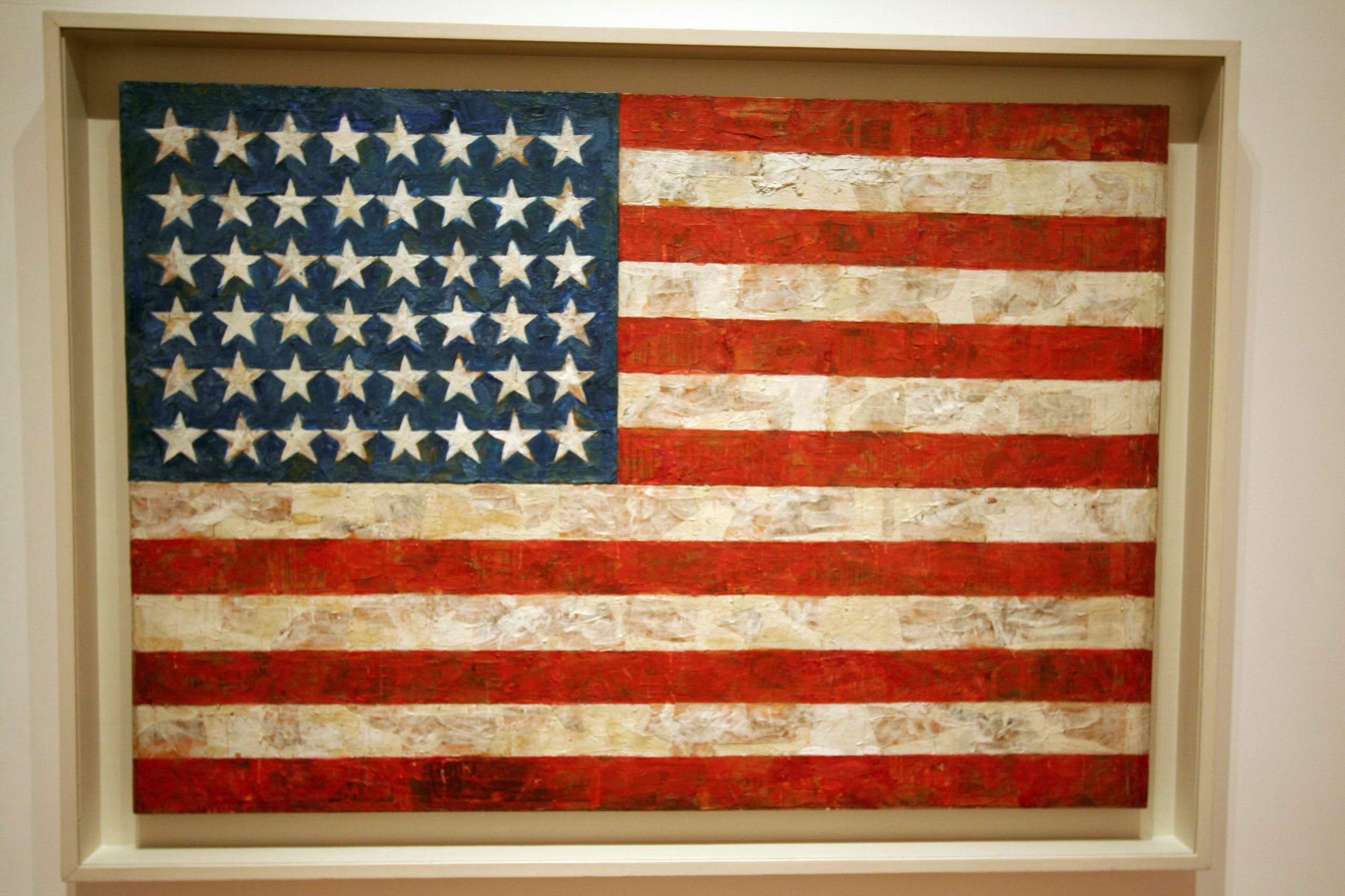 Jasper Johns, 'Flag', encaustic, oil, and collage on fabric mounted on plywood