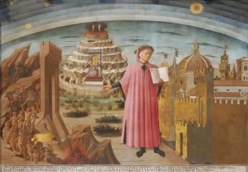 Domenico di Michelino, 'Dante's Divine Comedy', 1465, buon fresco, the Duomo, Florence, Italy