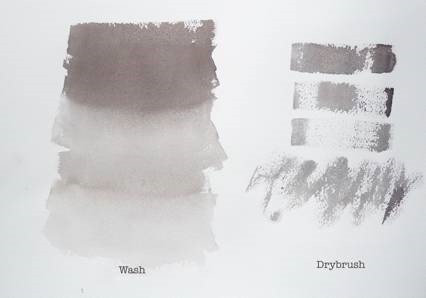 Examples of watercolor painting techniques: on the left, a wash. On the right, dry brush effects.
