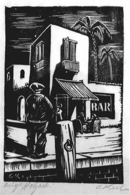 Carl Eugene Keel, 'Bar', 2006. Woodcut print on paper