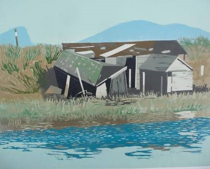 Christopher Gildow, 'Boathouse', 2007, from the Stillaguamish Series. Reduction woodcut print