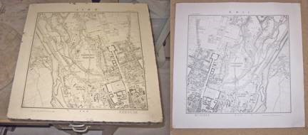 Lithographic stone is on the left with the negative image. Printed positive image is on the right.