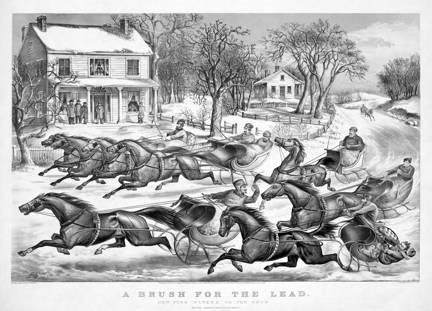 Currier and Ives, 'A Brush for the Lead; New York Flyers on the Snow', 1867. Lithograph. Library of Congress