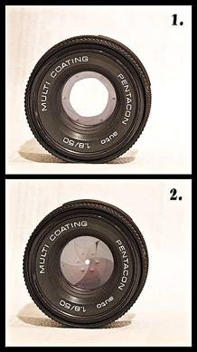 Top: Large aperture. Bottom: Small aperture.