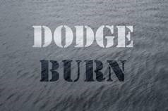 Photograph of the body of water with dodge and burn text overlaid in order to give an example of the two effects